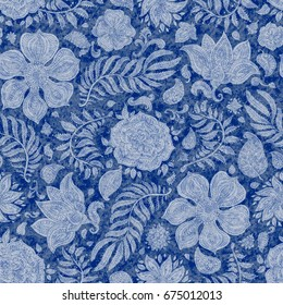 Abstract floral seamless pattern. Exotic Paisley elements, fantastic flower.Fairy foliage light silhouette on blue watercolor texture background. Wallpaper print, wrapping paper, book cover,page fill