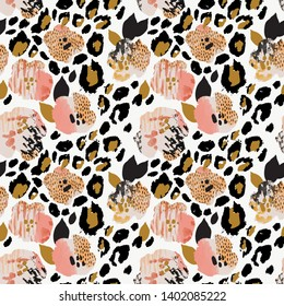 Abstract floral seamless pattern: flowers with zebra stripes, leopard skin print, watercolor texture. Creative artistic background. Digital art for surface design, fabric, gift wrapping, wallpaper
