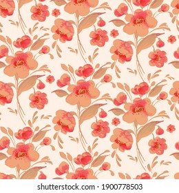 Abstract floral seamless pattern spring flowers drawn by paints on paper. Perfect print for your design and textile decoration.