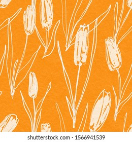 Abstract floral seamless pattern with tulips. Trendy hand drawn textures in primitive style. Modern abstract design for,paper, cover, fabric and other users.