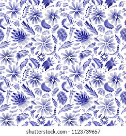 Abstract floral seamless pattern in Ukrainian folk painting style Petrykivka. Dark blue hand drawn fantasy flowers, leaves, curly branches isolated on a white background. Batik, page fill, album cover