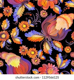 Abstract floral seamless pattern in Ukrainian folk painting style Petrykivka.Blue and yellow colored hand drawn fantasy flowers, leaves isolated on a black background. Batik, web page fill, wallpaper