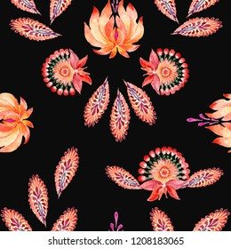 Abstract floral seamless pattern in Ukrainian folk painting style Petrykivka on a blak background.
