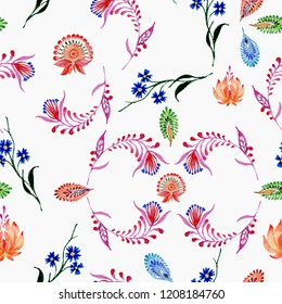 Abstract floral seamless pattern in Ukrainian folk painting style Petrykivka on a white background.