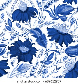 Abstract floral seamless pattern in Ukrainian folk painting style Petrykivka. Hand drawn fantasy flowers, branches isolated on a white background. Batik, page fill, album cover, poster, textile print