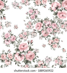 Abstract floral seamless print beautiful bouquets of roses drawn by paints with buds and foliage.