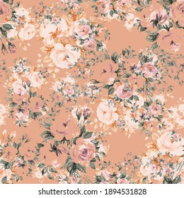 Abstract floral seamless print beautiful bouquets of roses drawn by paints with buds and foliage. Perfect print for your design and textile decoration.