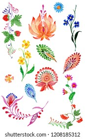 Abstract floral set in Ukrainian folk painting style Petrykivka on a white background.