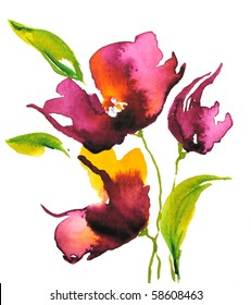 Abstract floral watercolor design with stylized violet flowers on white. Art is created and painted by photographer