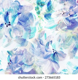 Abstract floral watercolor hand painted background