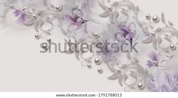 Abstract floral watercolor delicate flower wallpaper design