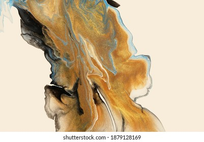 Abstract flow acrylic and watercolor pour marble blot painting. Color bronze and gold wave horizontal texture background.