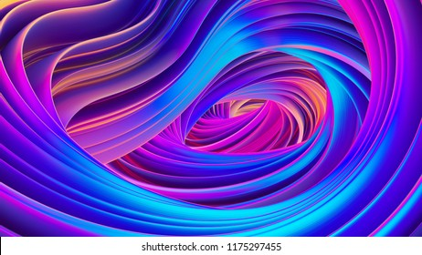Abstract flow background for Christmas and new year banners and posters. Holographic liquid shapes for trendy design. Wavy ribbon backdrop. Bright festive wrapping foil. 3D rendering.