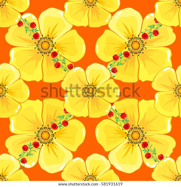 Abstract flower background. Pretty varicolored floral print. Motley floral seamless pattern on a orange background.