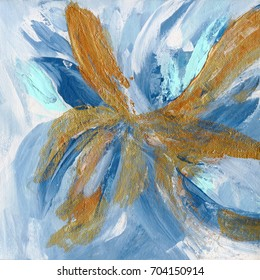 Abstract flower hand painted on canvas with bronze texture