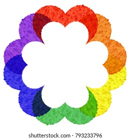 Abstract flower isolated white on rainbow flower : Paint design style.