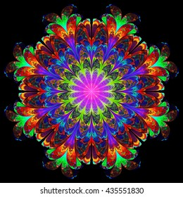 Abstract flower mandala on black background. Symmetrical pattern in rainbow colors. Fantasy fractal design for postcards, wallpapers or clothes.