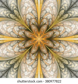 Abstract flower mandala on white background. Symmetrical pattern in yellow, orange, and dark green colors. Fantasy fractal design for postcards, wallpapers or clothes.