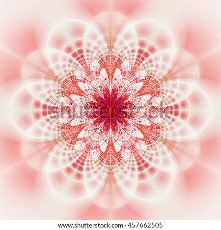 e0d4c59f8 Symmetrical pattern in light red and pink colors. Fantasy fractal design  for postcards, wallpapers, posters or t-shirts. Digital art. 3D rendering.