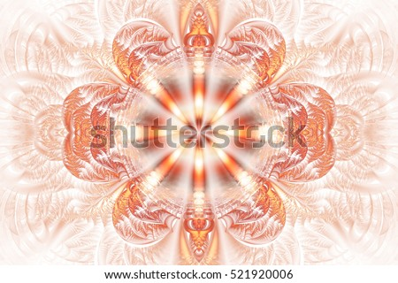 2659a088b Abstract flower mandala on white background. Intricate symmetrical pattern  in red and orange colors.