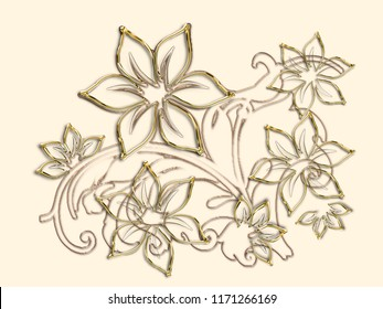 Abstract flower pattern and gold frame on white background. 3D rendering.