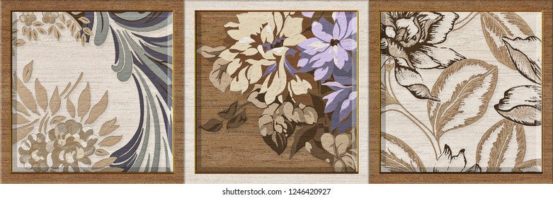 Abstract Flower Pattern Wall Tile Decor with Wooden Frame, Wall Tile Ceramic Design, linoleum, textile, web page.