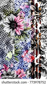 abstract flower placement print on geometric background