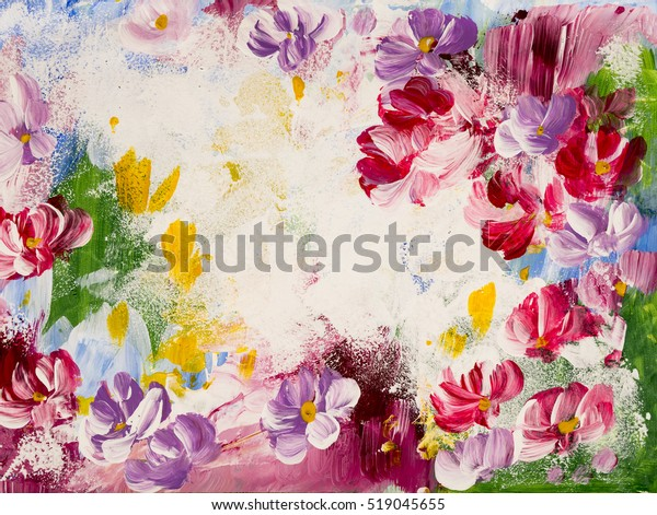 Abstract Flowers Acrylic Painting On Canvas