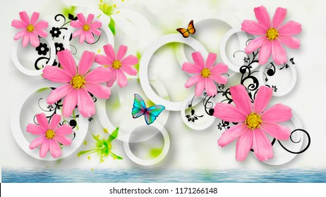 Abstract Flowers with circles on a white background with butterflies. Wallpaper for room. 3D rendering.