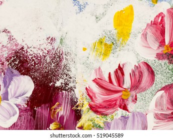 Abstract flowers, close-up fragment of acrylic painting on canvas. Creative abstract hand painted background, texture, background, wallpaper. Modern art. Contemporary art.