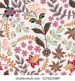 Abstract flowers seamless pattern, floral  background. Fantasy multicolored flowers in gentle tones on a gray backdrop. For the design of the fabric, wallpaper, wrapper, prints, decoration
