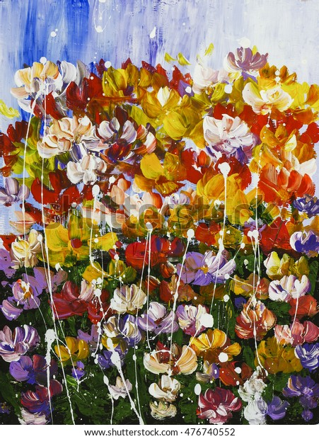 Abstract Flowers Texture Background Acrylic Painting Stock