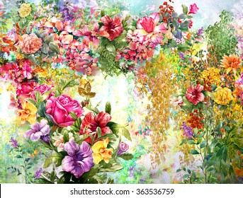 flower painting images stock photos vectors shutterstock rh shutterstock com acrylic painting floral design floral wall painting designs