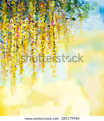 Abstract Flowers Watercolor Painting Spring Yellow
