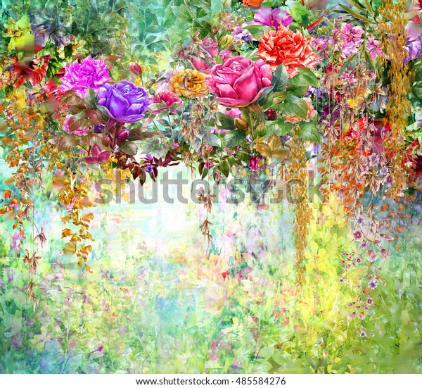 Abstract Flowers Watercolor Painting Spring Multicolored