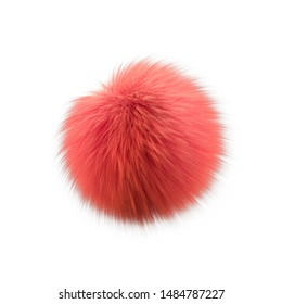 Abstract fluffy ball. Realistic Frizzy coral color hair pompon. Isolated on white background. 3d render