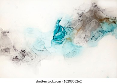 Abstract fluid art painting alcohol ink technique background