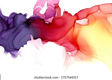 Abstract fluid art painting background in alcohol ink technique, mixture of pink, purple and yellow paints. Transparent overlayers of ink create lines and gradients. Burst of creativity.