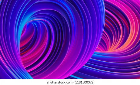 Abstract fluid background. Trendy liquid shapes. Dynamic composition with glowing lines. Ultraviolet vibrant colors. Festive wrapping foil. 3D rendering.