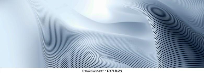Abstrakter, flüssiger Oberflächenhintergrund mit Rahmenlinien. Original 3D-Darstellung