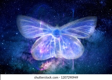 Abstract foggy colorful field of energy shaped as a butterfly in a multicolored space galaxy in background