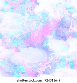 Abstract Foil Marbled Cloud Galaxy Print  Seamless Pattern in Repeat
