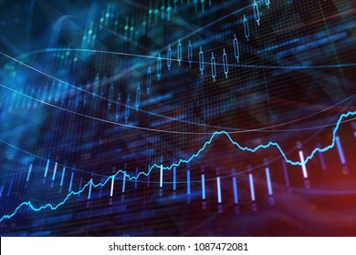 Abstract forex chart wallpaper. Investment, stock and profit concept. 3D Rendering