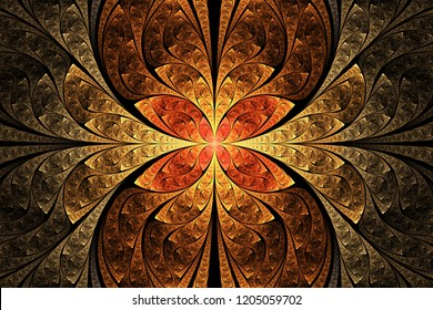 Abstract fractal art illustration. Golden and red and orange floral geometric ornament. Beautiful fractal illustration for creative graphic design