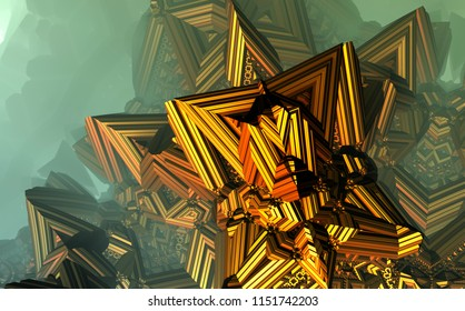 Abstract fractal atmospheric architecture geometric 3d illustration