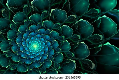 Abstract fractal background, cyan-green spiral flower with glowing blue core