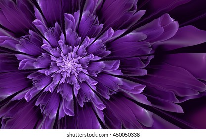 Abstract fractal background, decorative glossy blue-violet flower