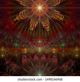 Abstract fractal background with  interconnected stars and space flowers with intricate decorative geometric pattern surrounding and connecting them in shining red,yellow,green