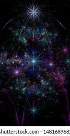 Abstract fractal background with large interconnected stars and alien space flowers with intricate decorative geometric pattern surrounding and connecting them in shining colors.