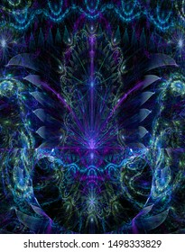 Abstract fractal background with large interconnected stars and space flowers with intricate decorative geometric pattern surrounding and connecting them in glowing blue,pink,purple,green